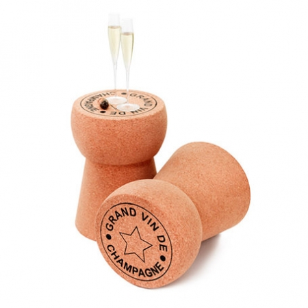 Photo of a giant cork table stool champagne stopper