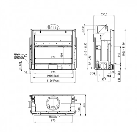 dimensions of morso s100-12 insert stove